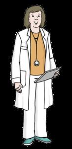Auf dem Bild sieht man eine gezeichnete Ärztin