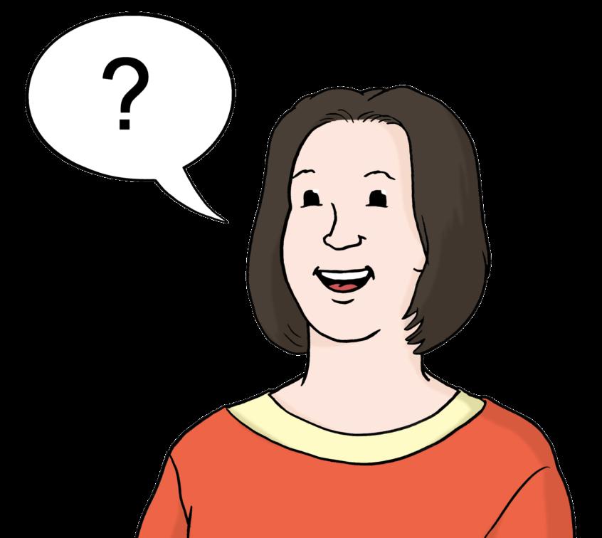 Frau mit Sprechblase, in der sich ein Fragezeichen befindet