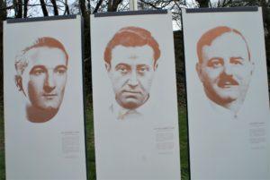 Tafeln von 3 erschossenen Kommunisten mit Bildern