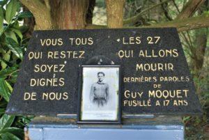 Gedenkstein für Guy Moquet mit seinen letzten Worten