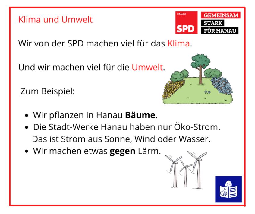 Beispiel für ein Sharepic der SPD Hanau In Leichter Sprache