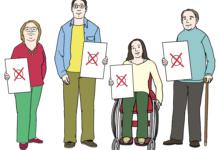 4 Menschen mit einer Behinderung, die eine Wahlbenachrichtigung in der Hand halten