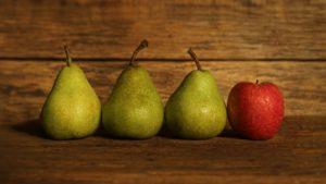 3 Birnen und 1 Apfel