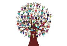 Zeichnung Baum mit vielen Kindern unterschiedlichen Geschlechts