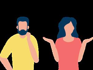 Mann und Frau dazwischen Fragezeichen